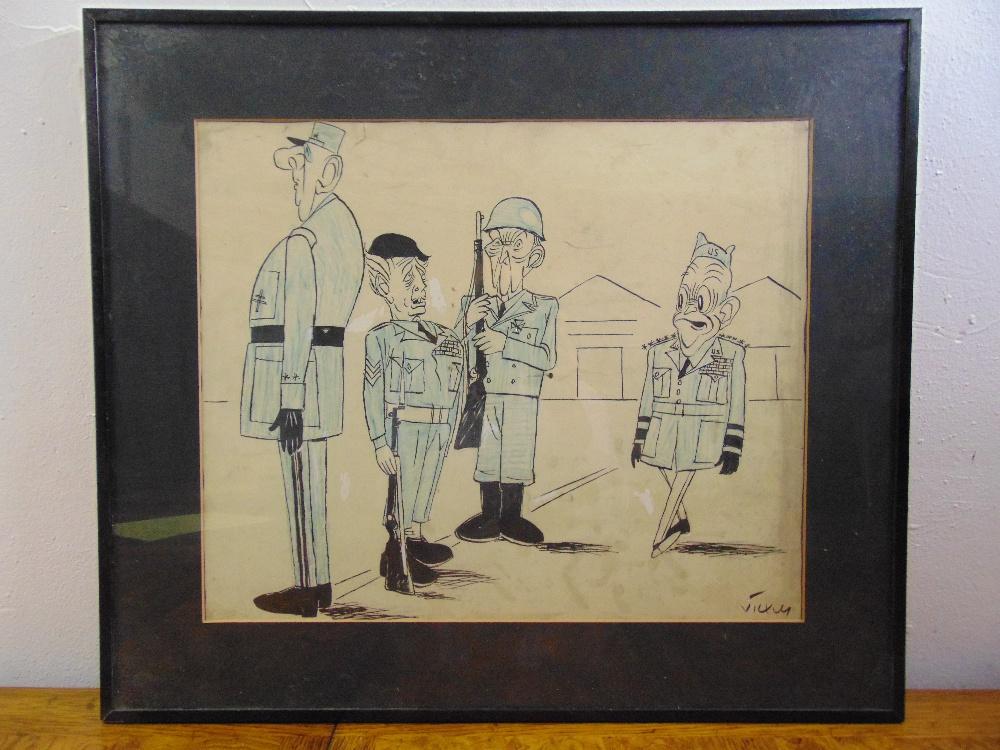 Vicky framed and glazed political cartoon, signed bottom right, 39 x 47cm