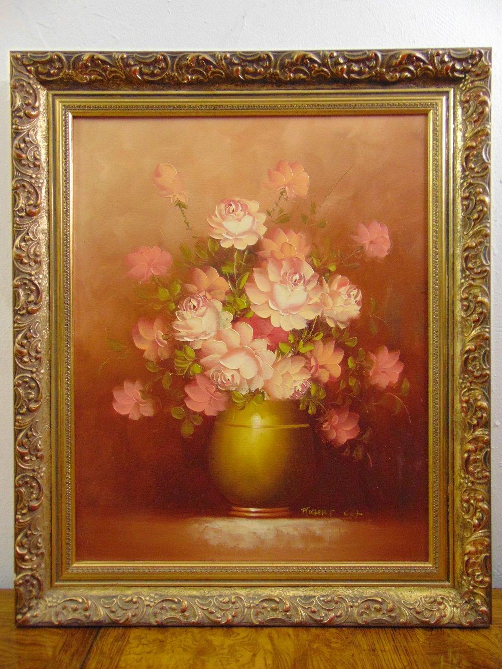Lot 98 - Robert Cox framed oil on canvas still life of flowers, signed bottom right, 50.5 x 40.5cm