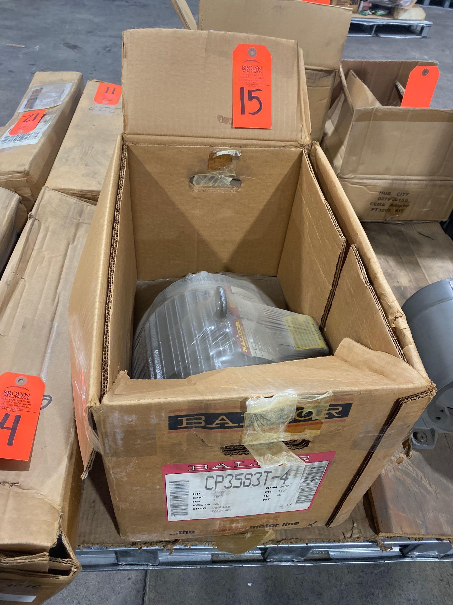 Lot 15 - Baldor motor model CP3583T-4, 3 phase, 1.5hp, 460v motor. New in box.