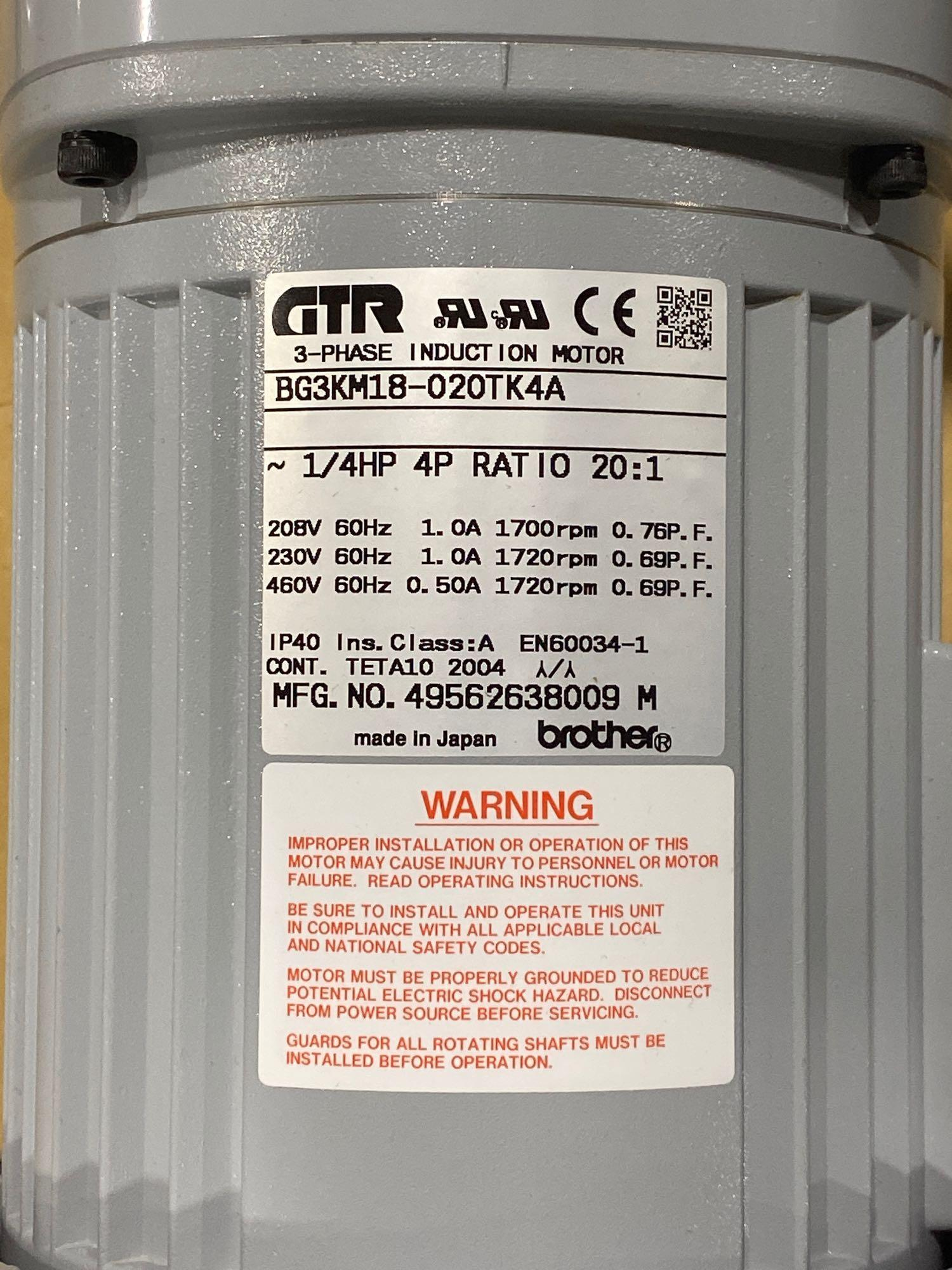 Lot 7 - Brother 3-phase induction motor model BG3KM18-020TK4A. New in box.