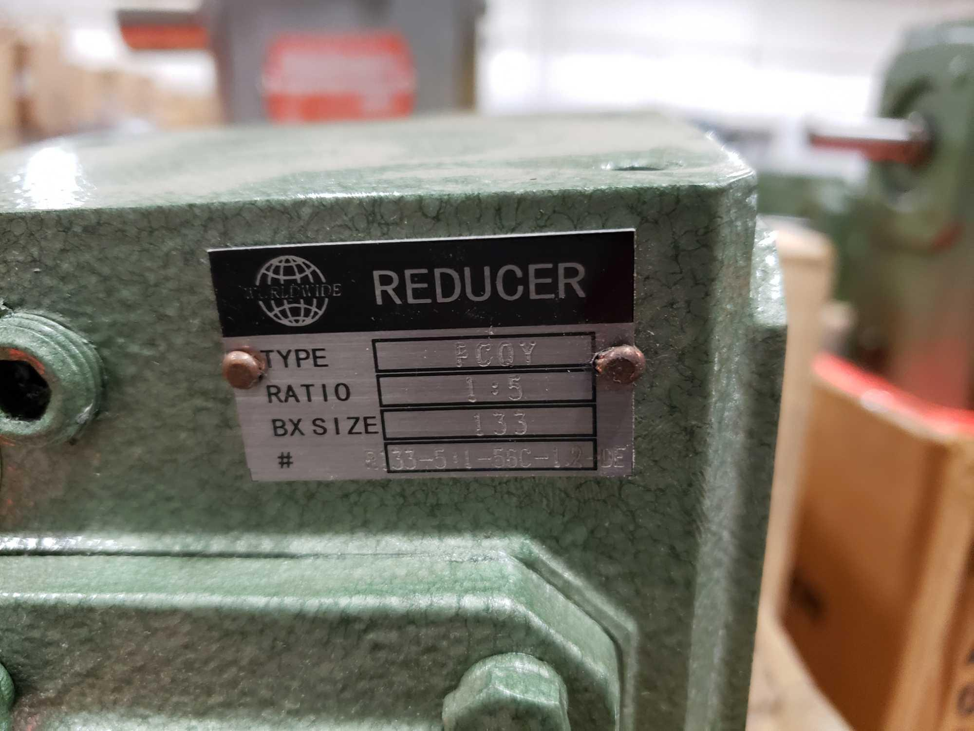 Lot 31 - Worldwide Electric Corp gear reducer type FCOY, 1:5 ratio, BX size 133. New in box.