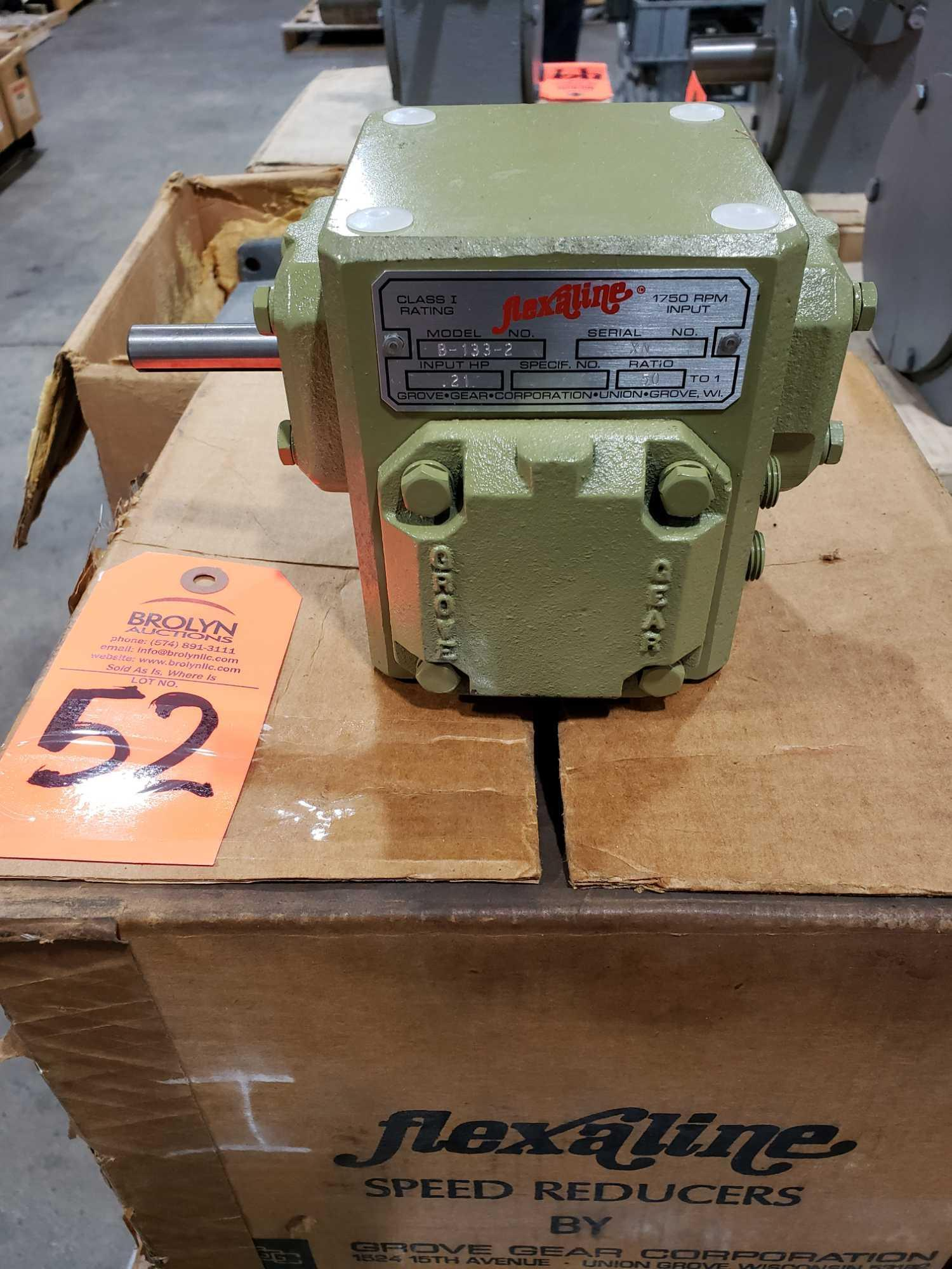 Lot 52 - Grove Gear Flexaline model B-133-2 gear box, ratio 50:1. New in box.
