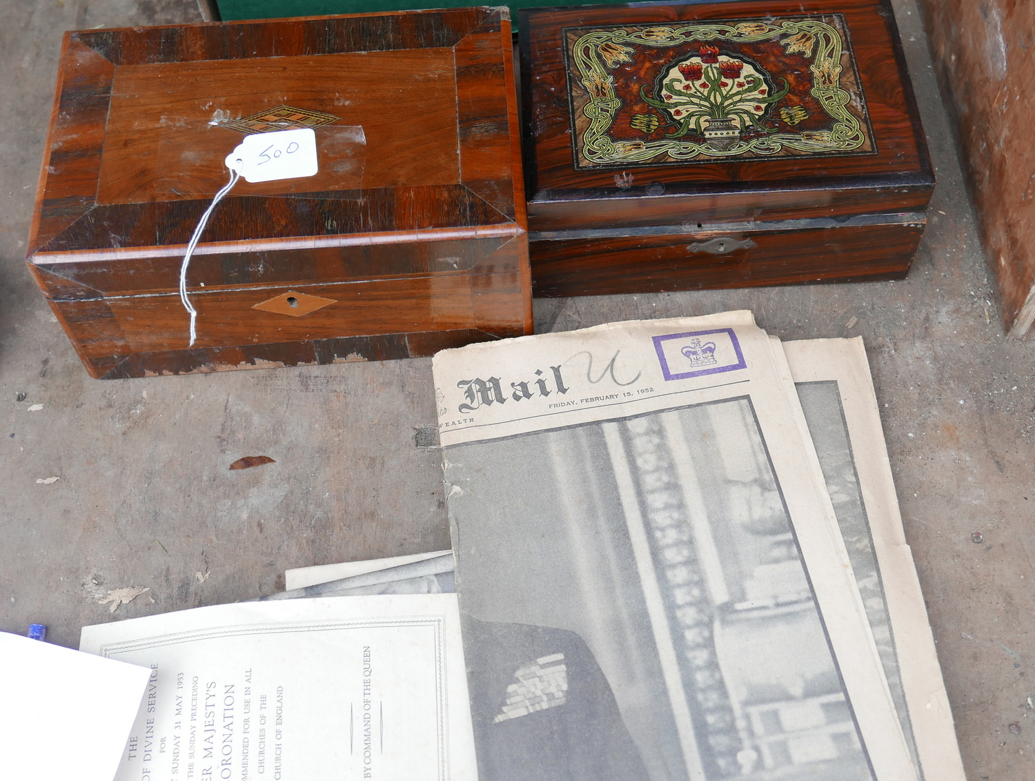 Lot 50O - Lot of 2 Vintage Boxes and Commemorative Newspapers.