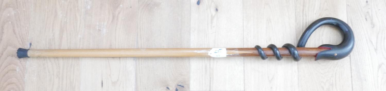 "Lot 11 - Vintage Ethnic Wooden Snake Head Walking Stick - 36"" long."