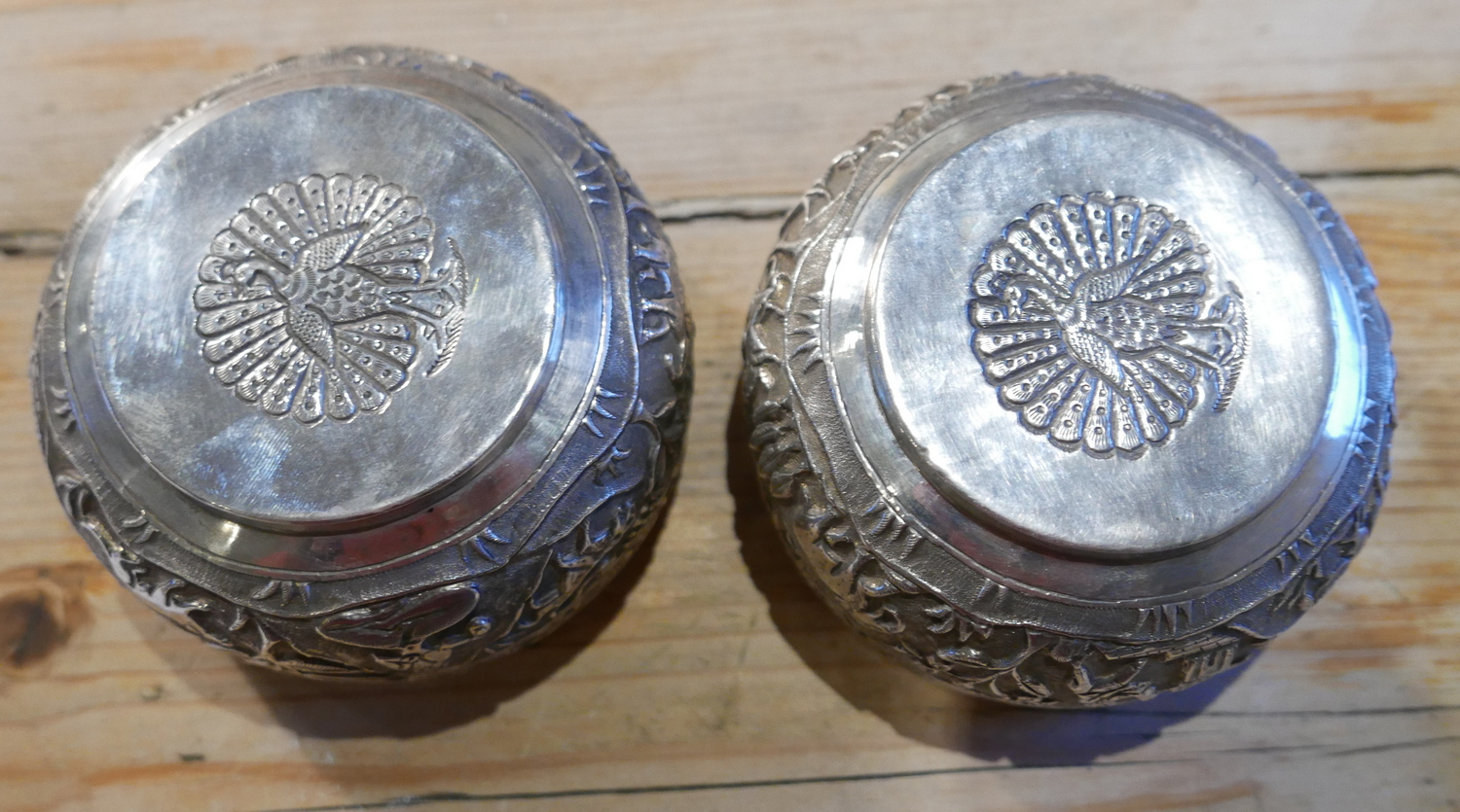 Lot 9 - Antique Pair of Indian/Burmese White Metal Bowls with Peacock Marks to base - 233 grams.