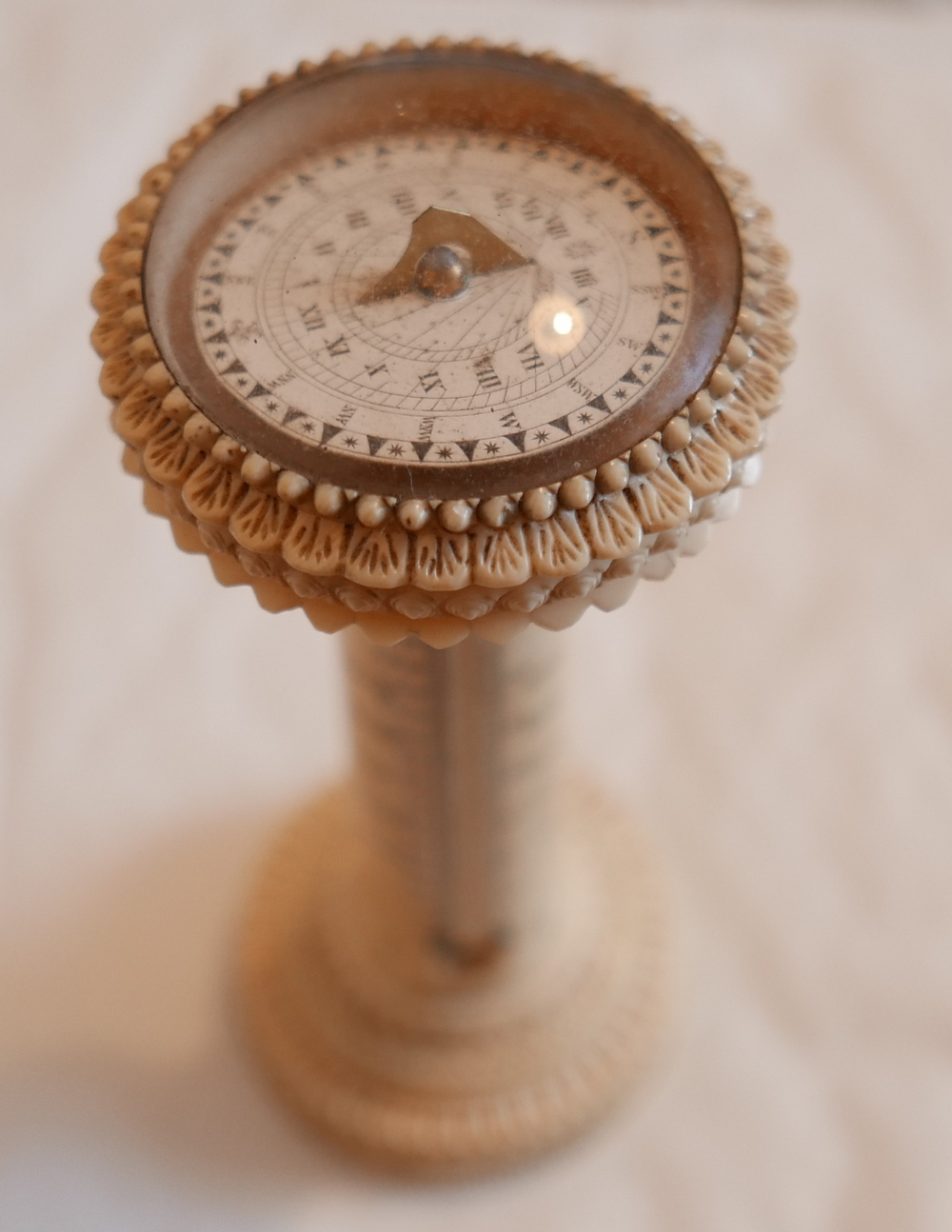 "Lot 59 - Antique Miniature Ivory Sundial and Thermometer - 6 1/4"" (160mm) tall."
