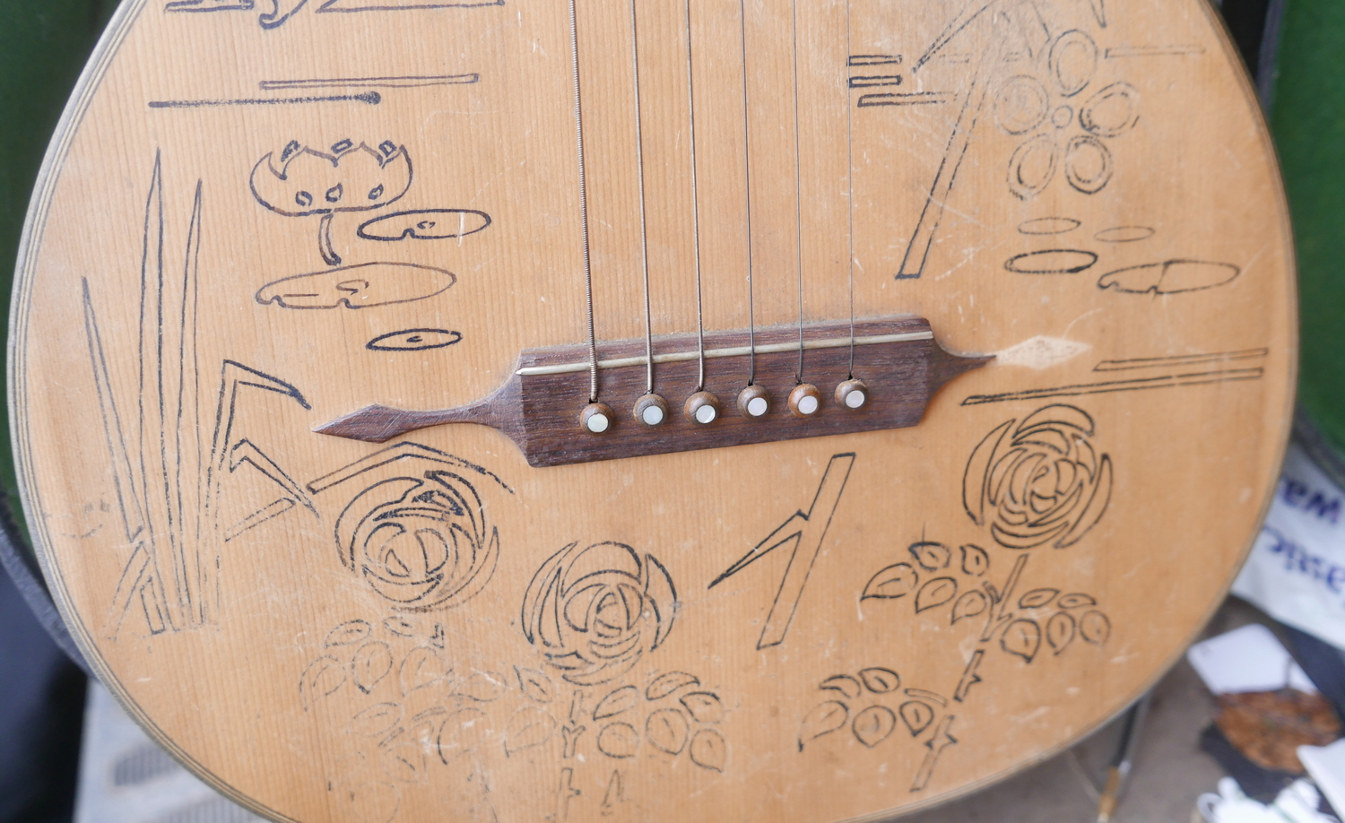 """Lot 50L - Antique/Vintage Metal and Wood Boxed Quetta Guitar 36 1/2""""."""