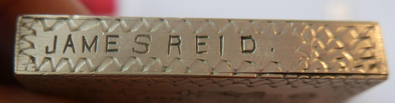 Lot 17 - Victorian White Metal profusely inscribed Masonic Vesta Box named James Reid.