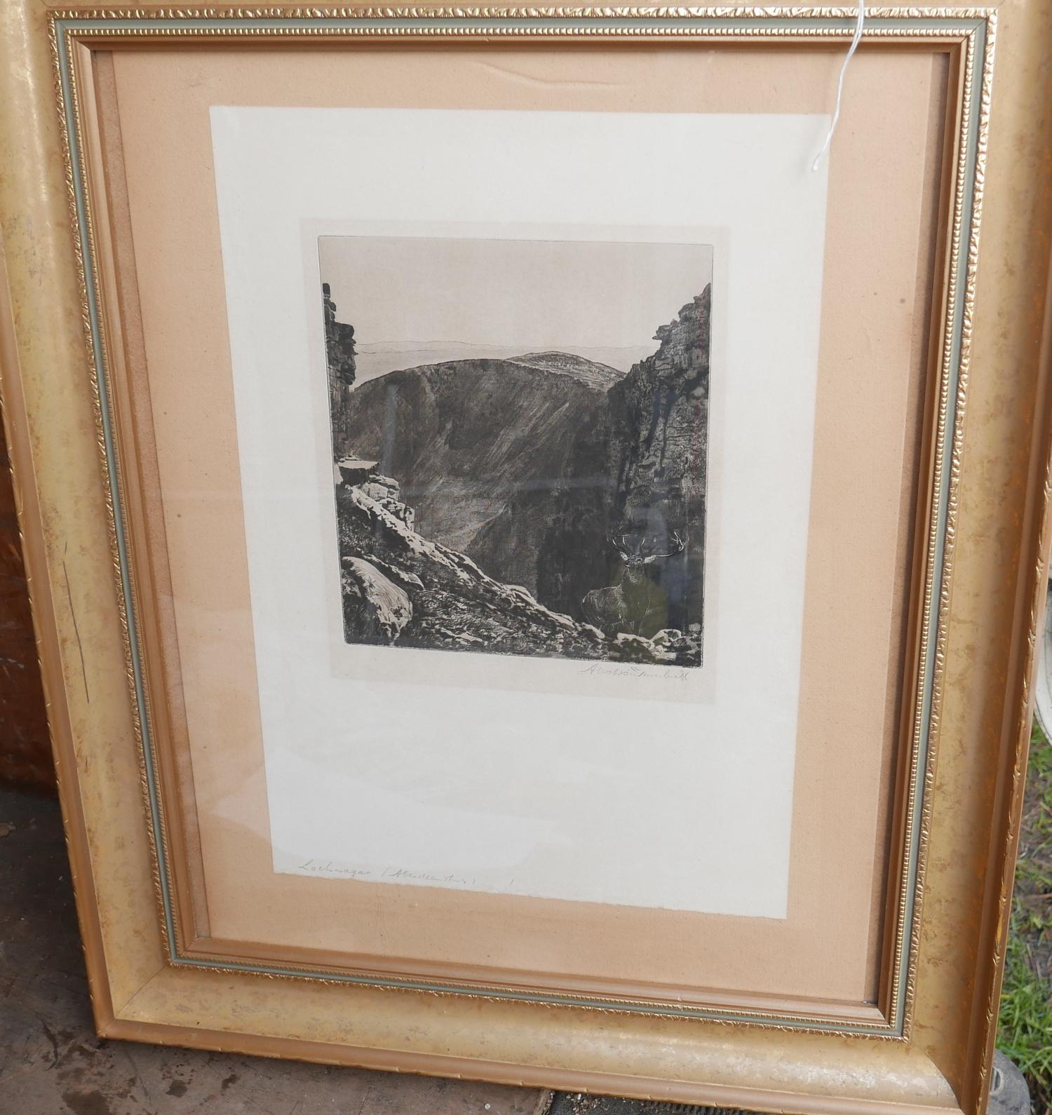 Lot 50W - A Walter Turnbull Framed Drypoint Etching of Lochnagar.