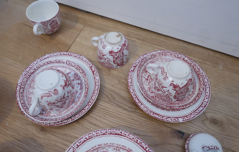 Lot 82 - Antique Allertons Punch and Judy Childs Crockery Set -Plates-Saucers-Cups-Jug-Lidded Pot etc.