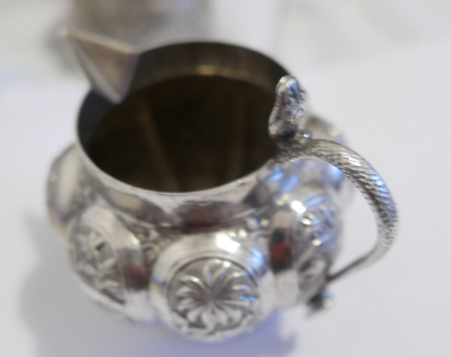 Lot 68 - Antique Indian Silver Lidded Pot - 72mm dia and 70mm with Decorative White Metal Jug - 120mm x 110mm