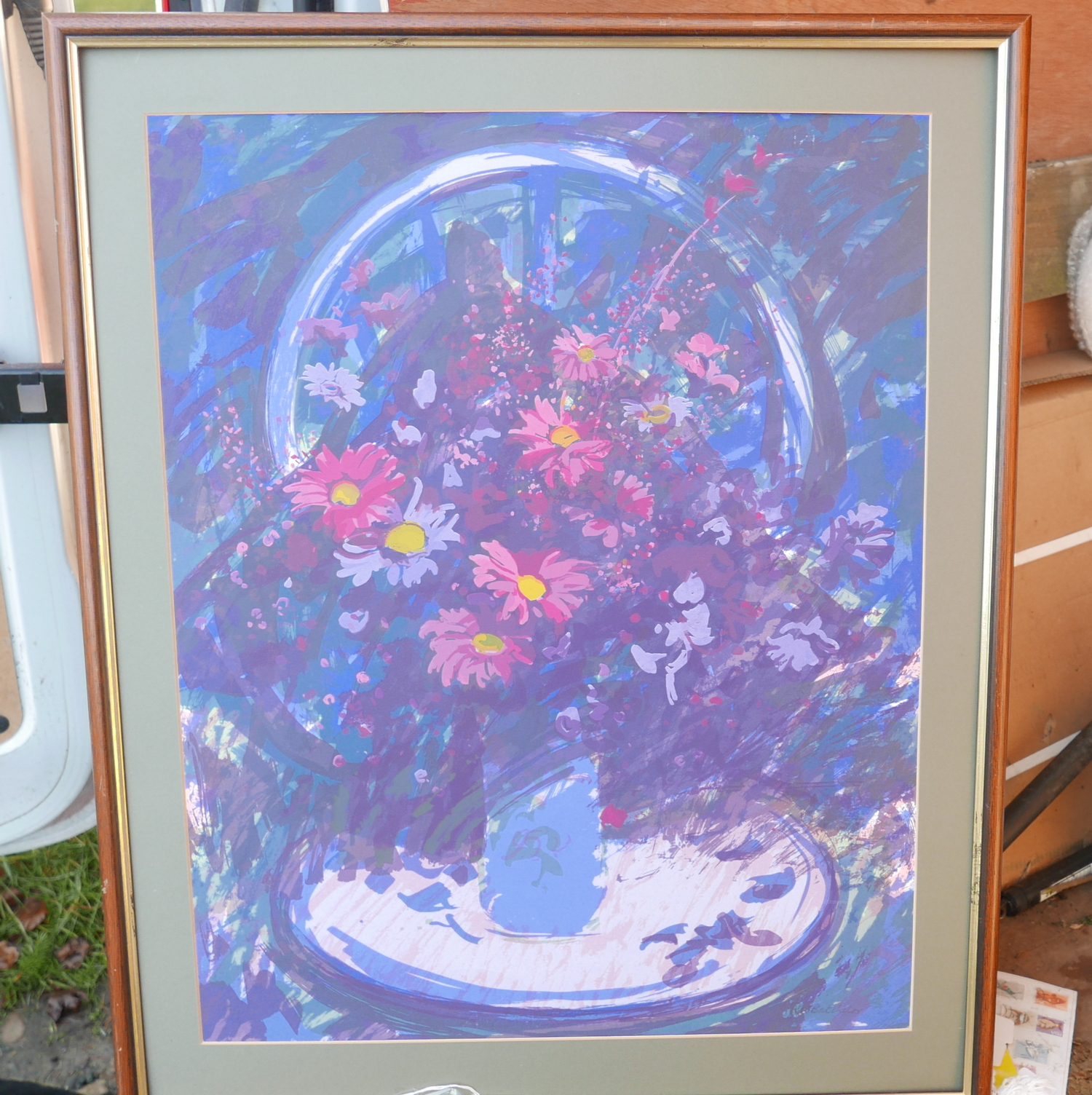 "Lot 50G - Bob Baxter Peacock Printers Print Fairfield Flowers. - actual print 27 1/2"" x 21 1/2"" frame 33x27"
