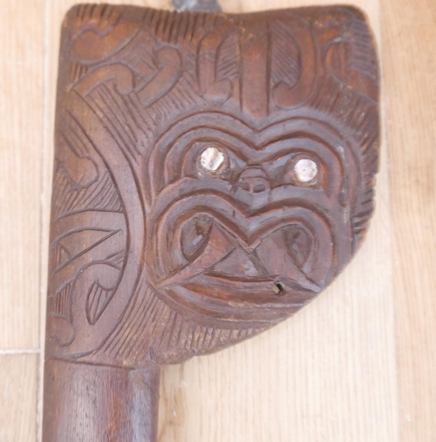 "Lot 75 - Maori Tribal Tewhatewha Staff - 47 1/2"" (121cm) tall with a 6"" x 5 1/2"" head."