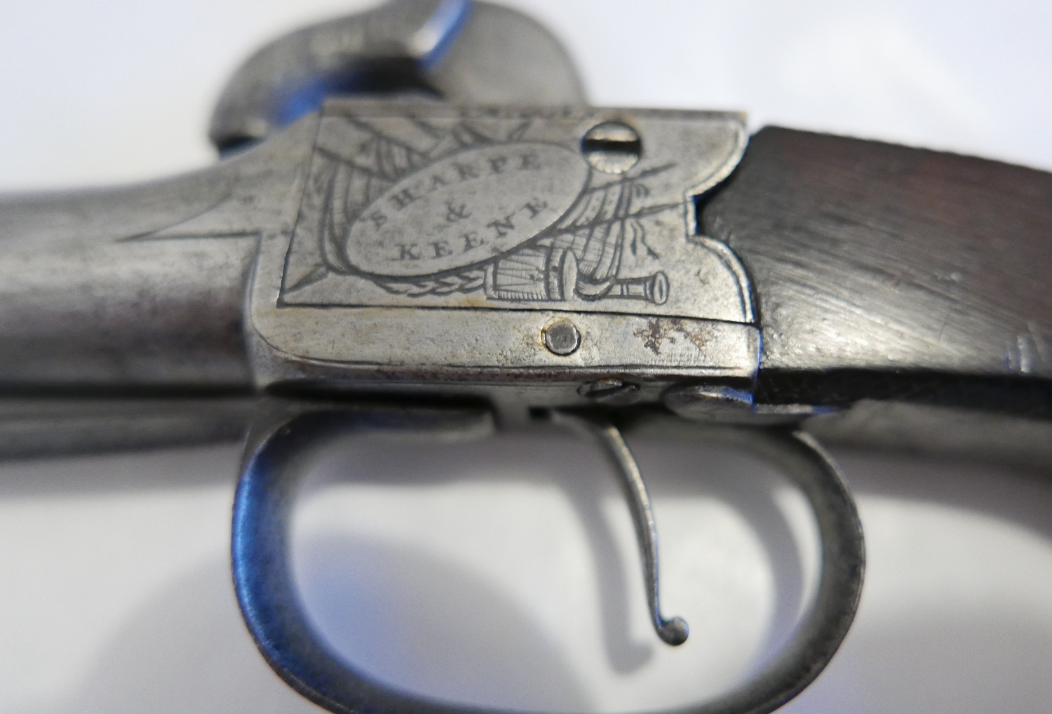 Lot 60 - Antique Sharpe&Keene London single barrel Percussion Pistol with Spring Dagger.