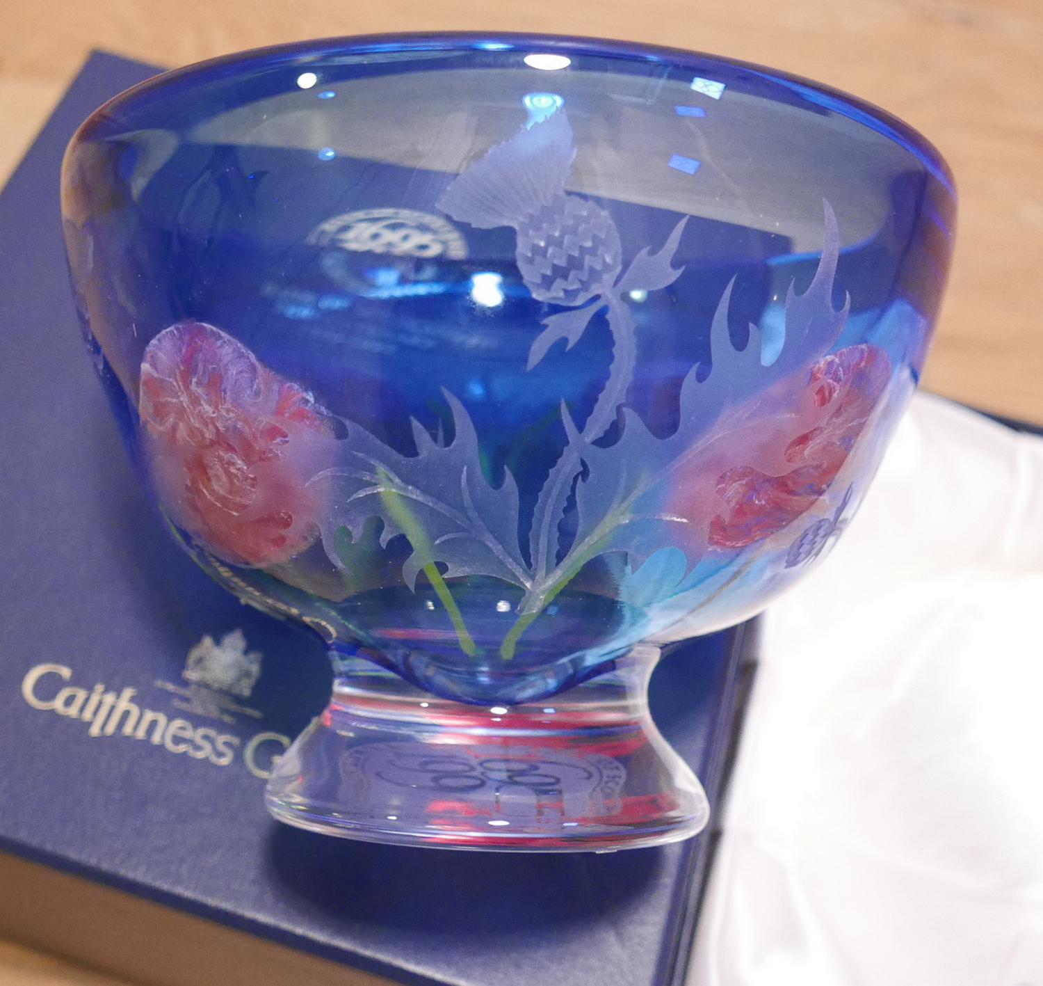 "Lot 81 - Boxed Caithness Glass Bank of Scotland Tercentenary Thistle Rose Bowl 1695-1995 - 8 1/2"" dia."