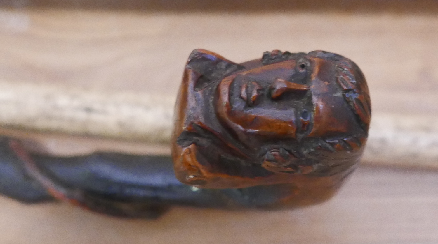 """Lot 80 - Antique Rootwood Walking Stick 36 1/2"""" long with double carved head of Robert Burns?"""