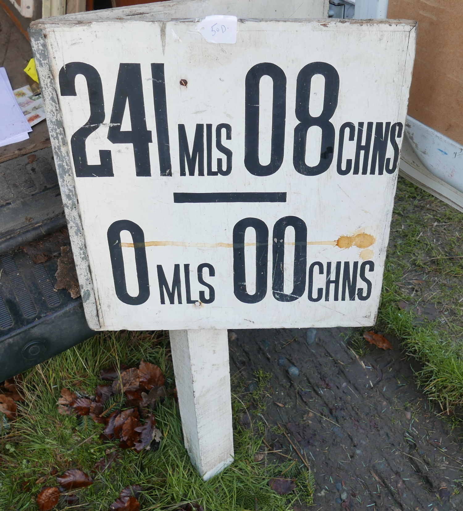 "Lot 50D - Vintage Wooden Railway Sign Double Sided 19"" x 19"" on 35"" tall post."