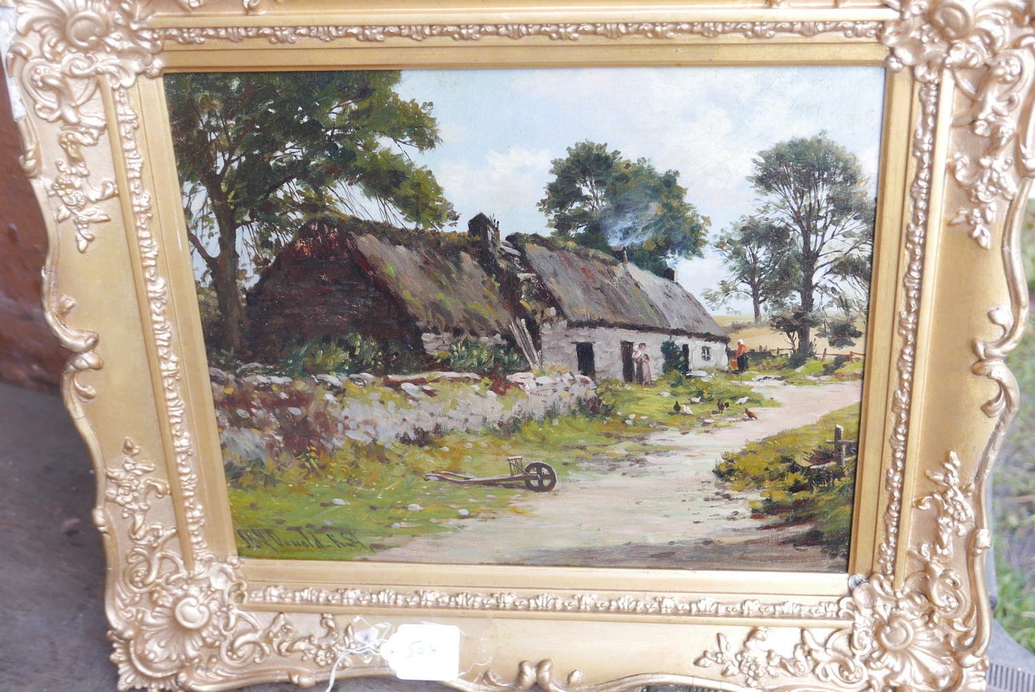 "Lot 50X - Antique Framed J.B.M.Donald RSA Oil Painting of Croft Scene actual oil 14 `1/2"" x 11 1/2"""