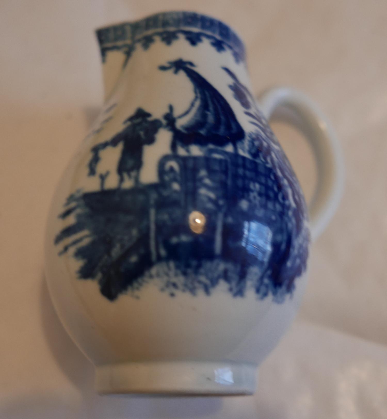 "Lot 53 - Antique 18th Century English Porcelain Sparrow Beak Jug 3 1/2"" tall - excellent cond."