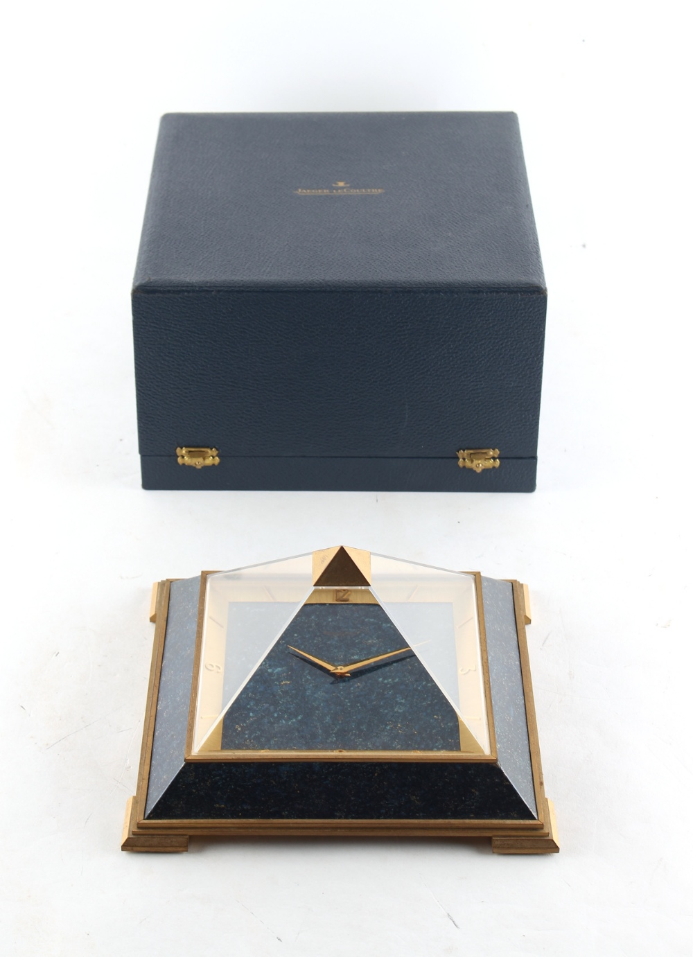 Lot 310 - Property of a lady - a 1960's Jaeger Le Coultre brass & faux lapis lazuli pyramid clock, 7.7ins. (