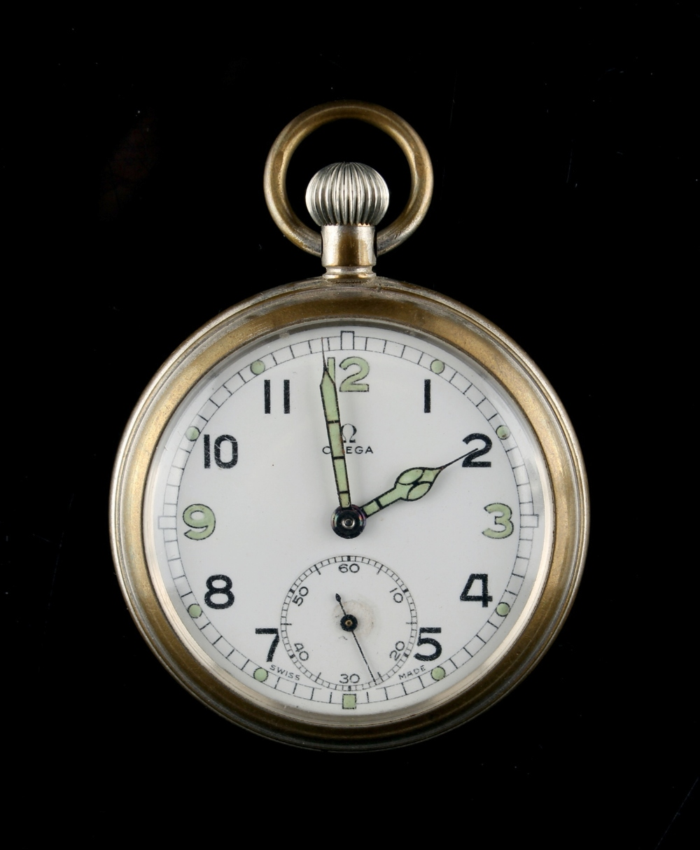 Property of a gentleman - an Omega military pocket watch, with broad arrow mark above G.S.T.P. and