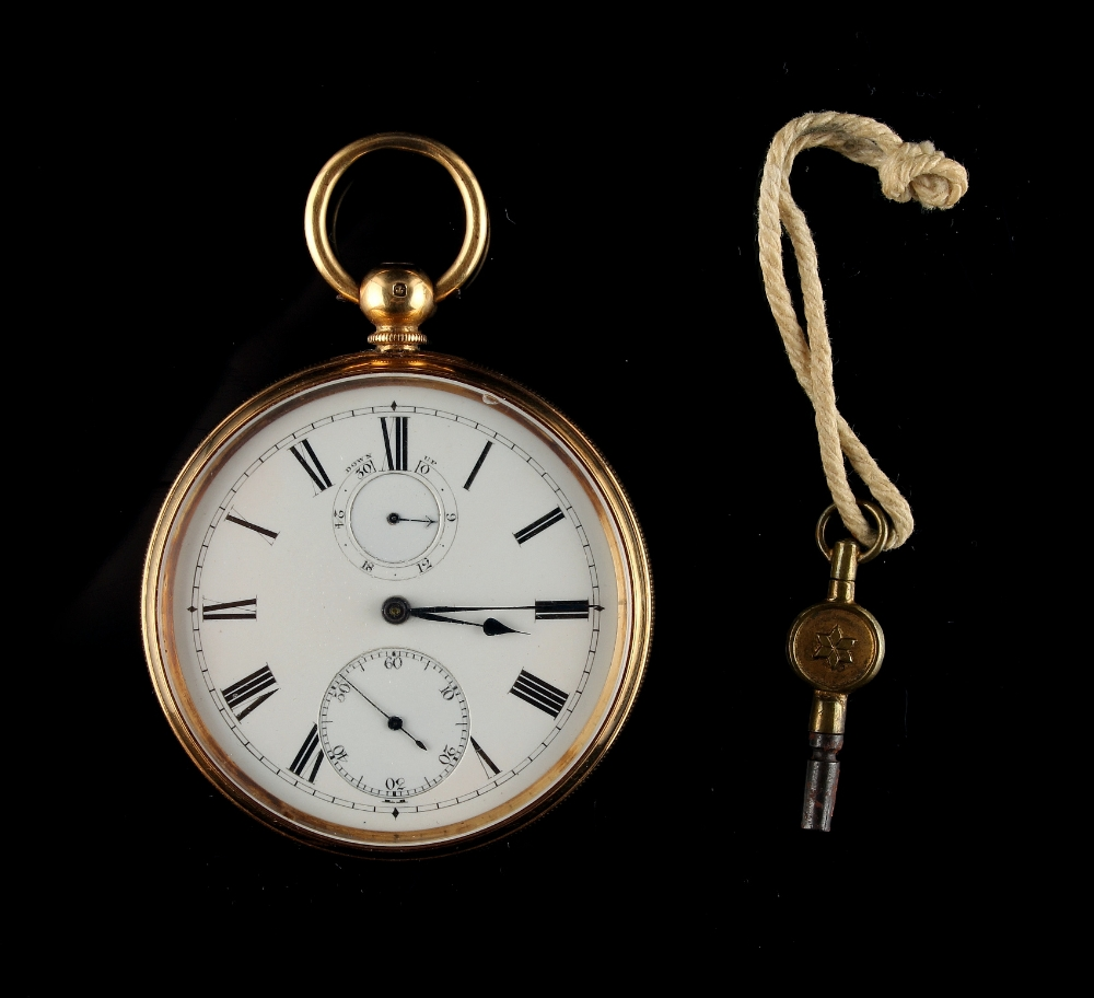 Lot 18 - Property of a deceased estate - a good Victorian 18ct gold cased key wind pocket watch, with power
