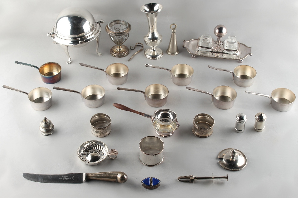 Lot 251 - Property of a lady - a mixed lot of silver & silver plated items including a silver tea strainer