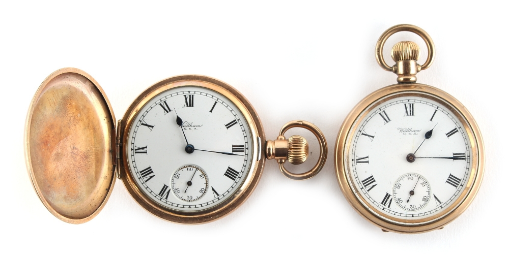 Property of a lady - two Waltham gold plated pocket watches (2).