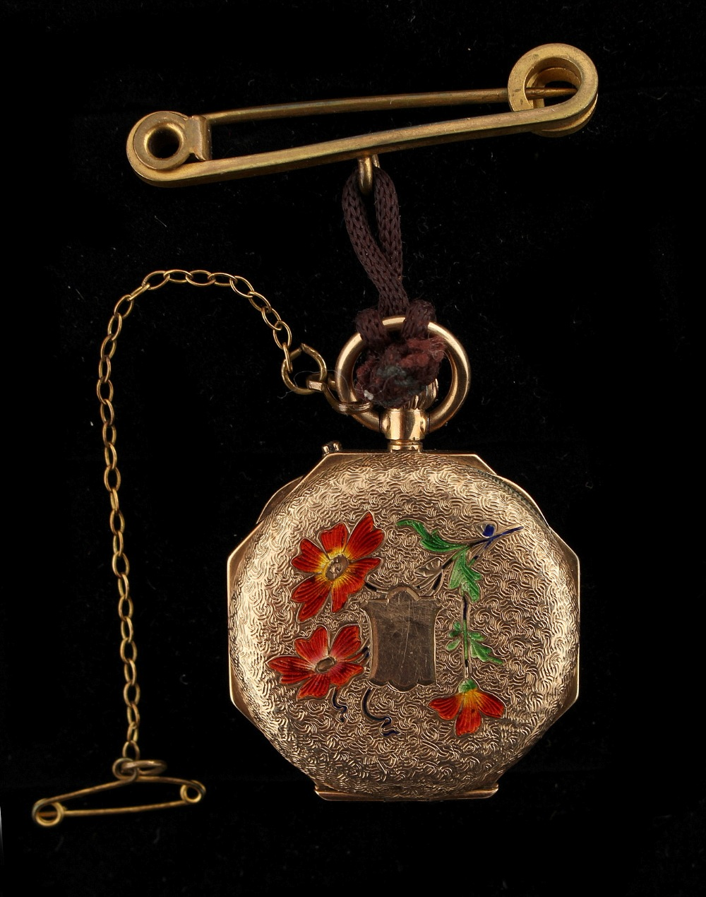 Property of a deceased estate - a 9ct gold cased fob watch with enamel floral decoration, - Image 2 of 2