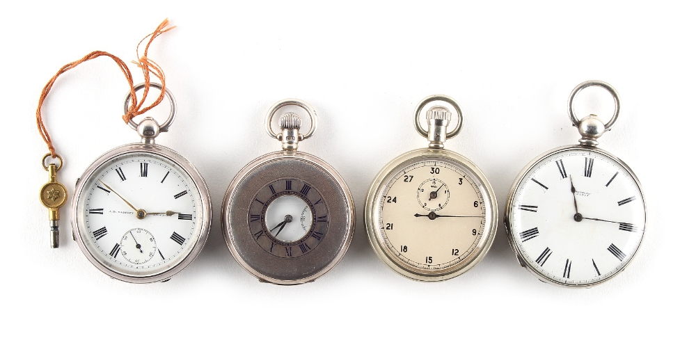 Lot 10 - Property of a lady - three pocket watches comprising a silver cased key wind pocket watch by J.B.