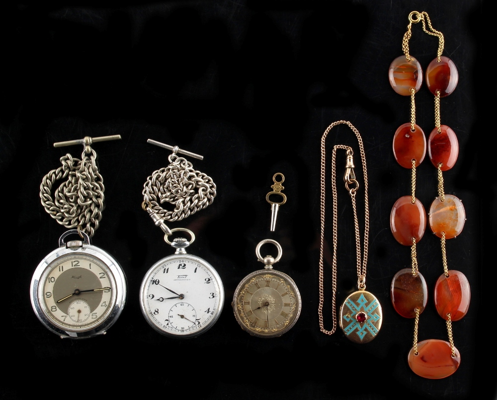 Property of a lady - a small quantity of jewellery & pocket watches including enamel decorated