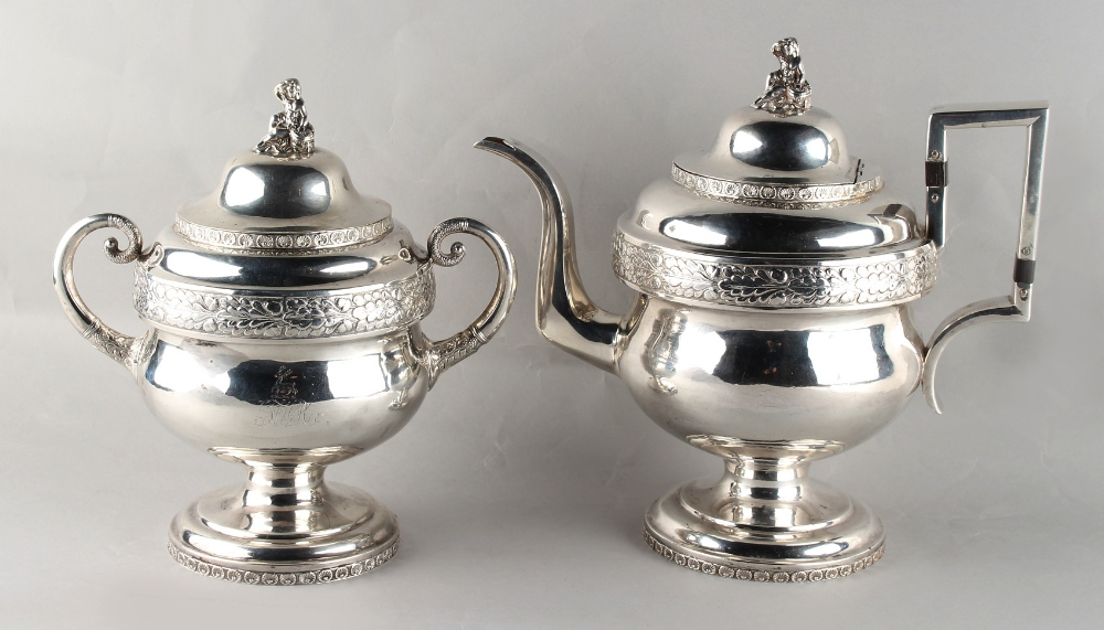 Lot 212 - Property of a gentleman - an early 19th century American silver coffee pot and matching sucrier,