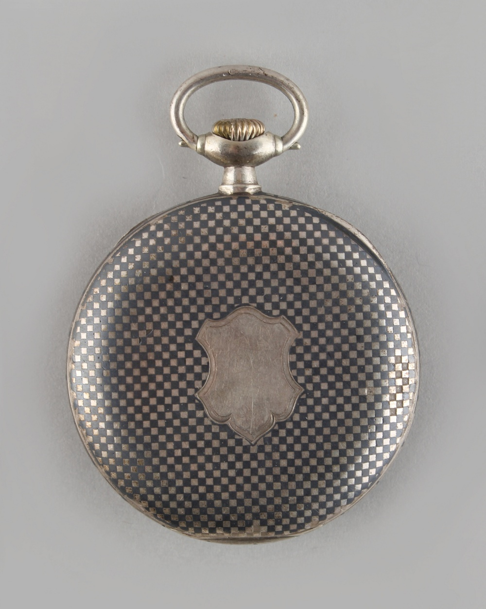 Lot 15 - Property of a deceased estate - an Omega silver & niello cased keyless wind pocket watch, with