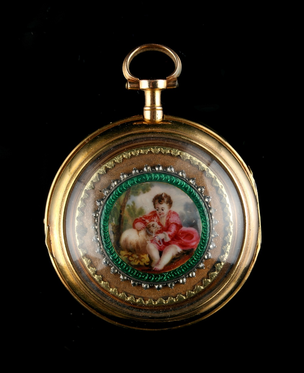 Property of a deceased estate - a late 18th century French gold pair cased pocket watch, the two - Image 2 of 2