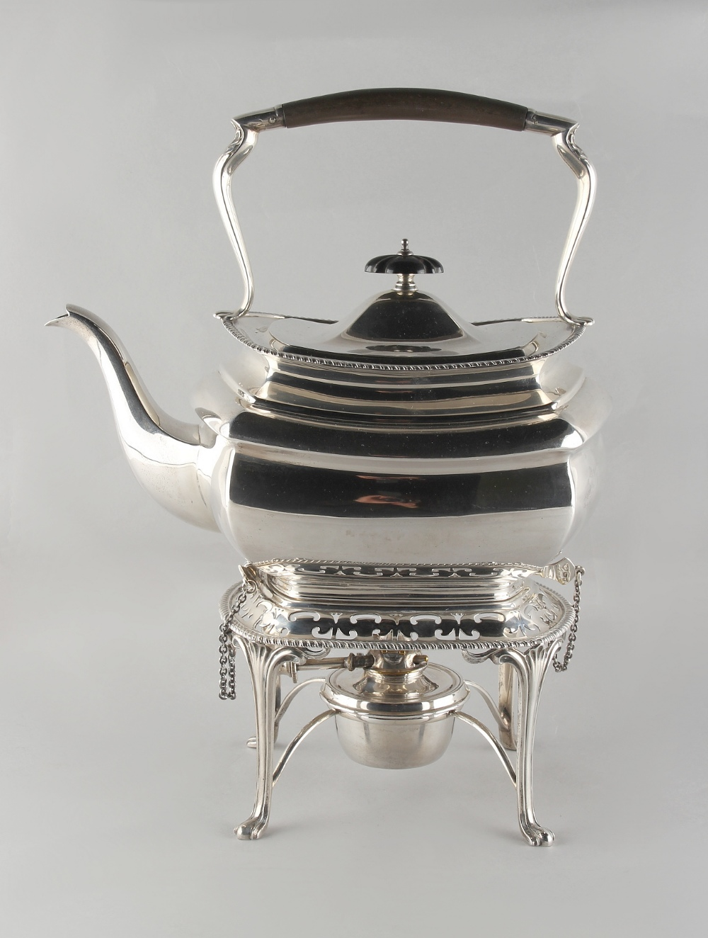 Lot 252 - Property of a deceased estate - a silver kettle on stand with burner, Elkington & Co., Birmingham