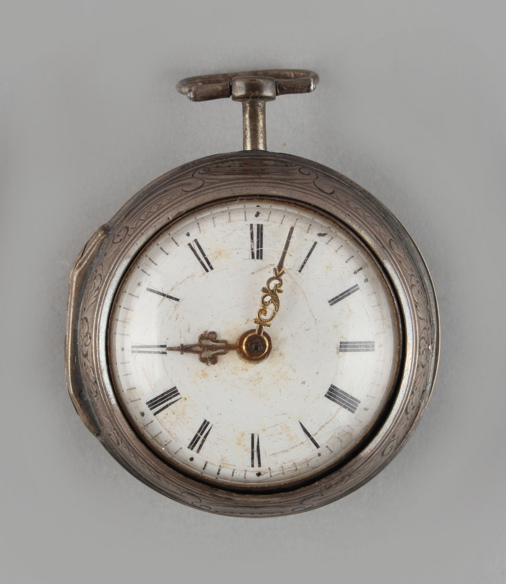 Lot 16 - Property of a deceased estate - a late 18th century silver pair cased pocket watch, the chain