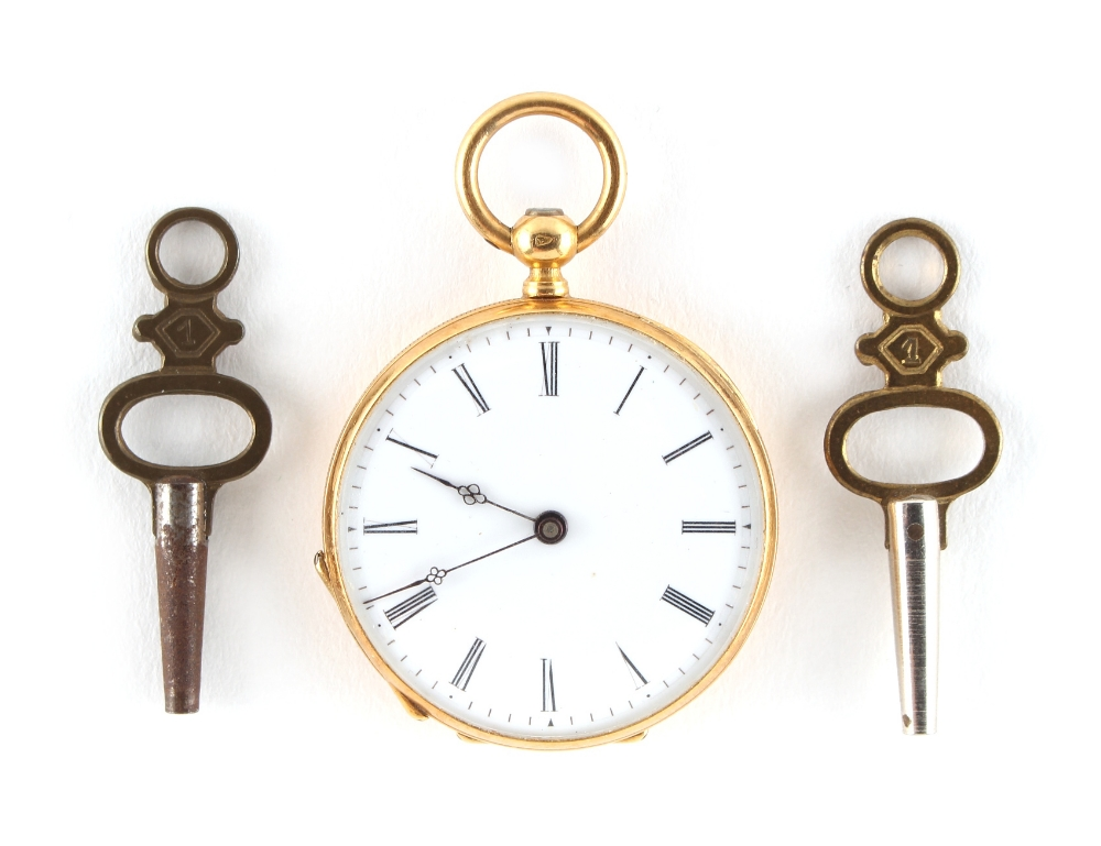 Lot 2 - Property of a lady - a late 19th / early 20th century 18ct gold cased key wind fob watch, French