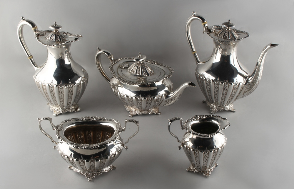Lot 204 - Property of a lady - a good late Victorian silver plated five piece tea and coffee set, circa