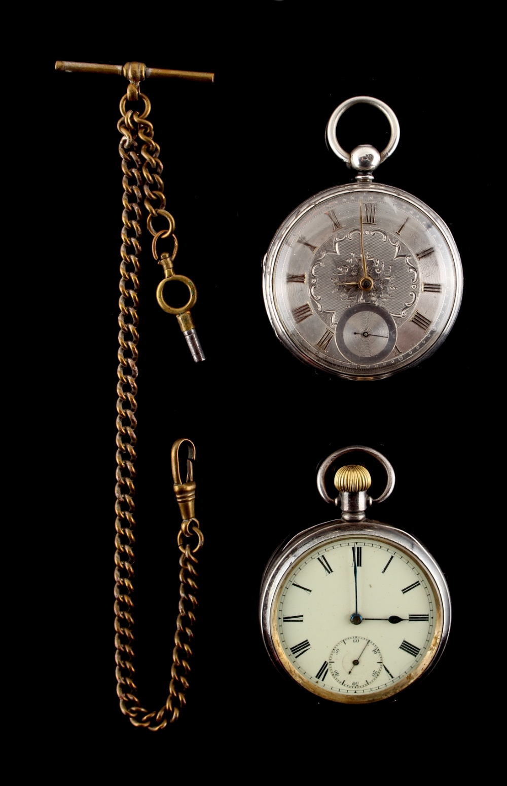 Lot 1 - Property of a lady - a Victorian silver cased pocket watch with silvered dial & chain fusee