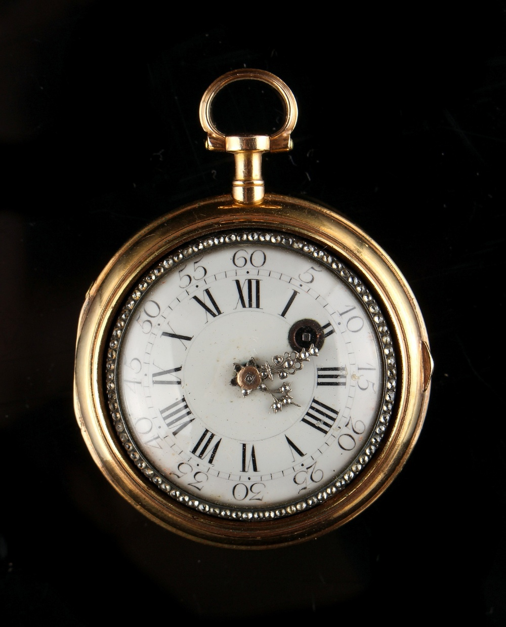 Lot 17 - Property of a deceased estate - a late 18th century French gold pair cased pocket watch, the two