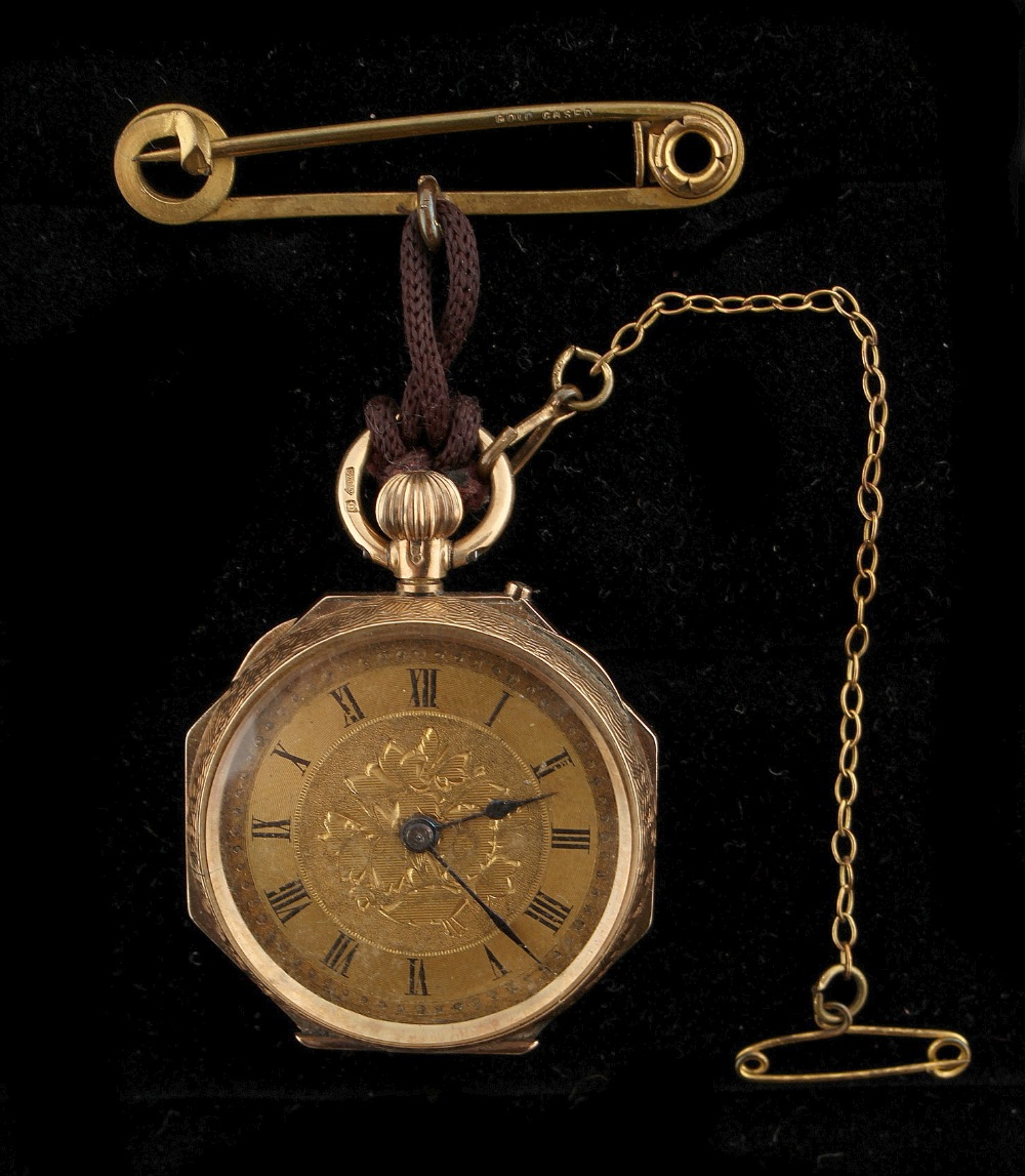 Property of a deceased estate - a 9ct gold cased fob watch with enamel floral decoration,