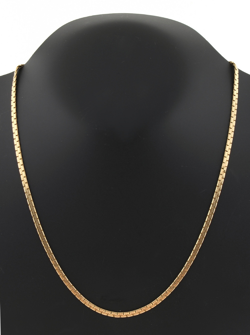 Property of a deceased estate - a 14ct yellow fold flat curb link chain necklace, 19.3ins. (