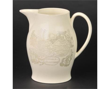 *World. The World in Planisphere, circa 1790,  a Bristol pearlware jug, transfer printed with a double hemisphere map of the