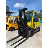 "HYSTER H70FT LP FORKLIFT, ENCLOSED CAB, HEAT & A/C, 7,000 LB CAPCITY, 187.8"" HEIGHT CAP, TILT, SIDE"