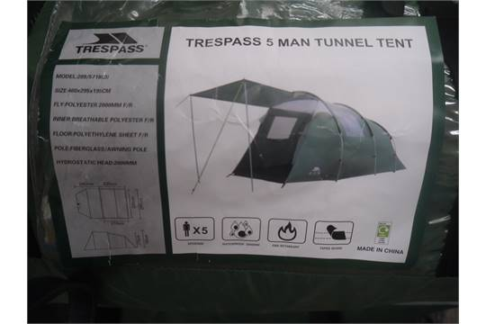 & Trespass 5 man tunnel tent in carry bag