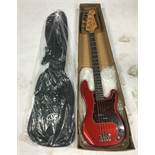 SX 'P' Bass Guitar in Red w/ GIG Bag | In Box | New | RRP £175