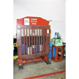HYDRAULIC H-FRAME SHOP PRESS, BIG RED JAX 150 T. CAP., elec. driven hyd. pump, bend tooling, 44-1/2""