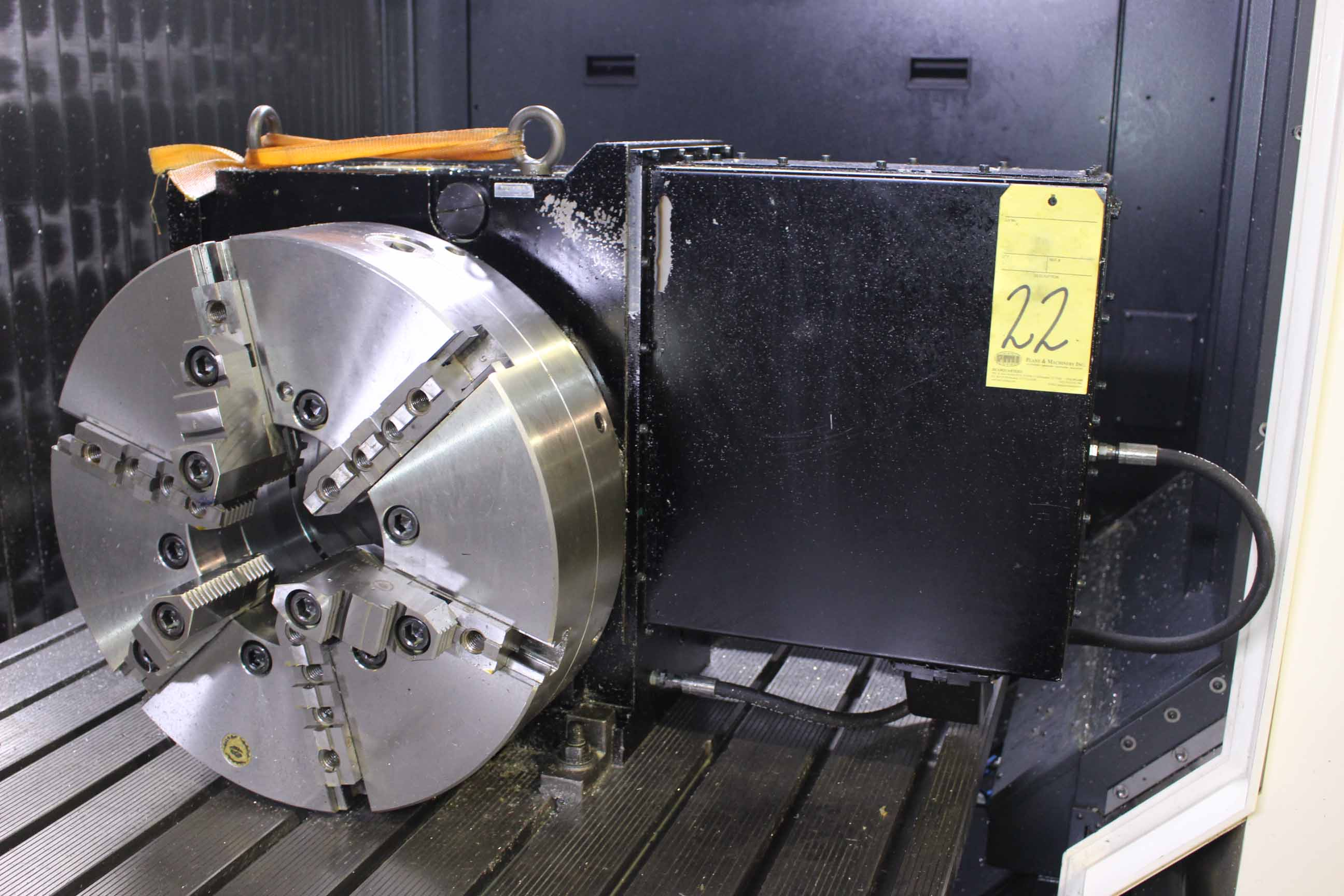 "Lot 22 - CNC ROTARY TABLE, MMK MATSUMOTO MDL. MBX453R-05, 17.7"" dia. platen, 10"" center ht., 8"" thru hole,"