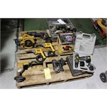 LOT OF ELECTRIC HAND TOOLS: Dewalt drills, Craftsman Saw-All, Black & Decker Skilsaw, etc.