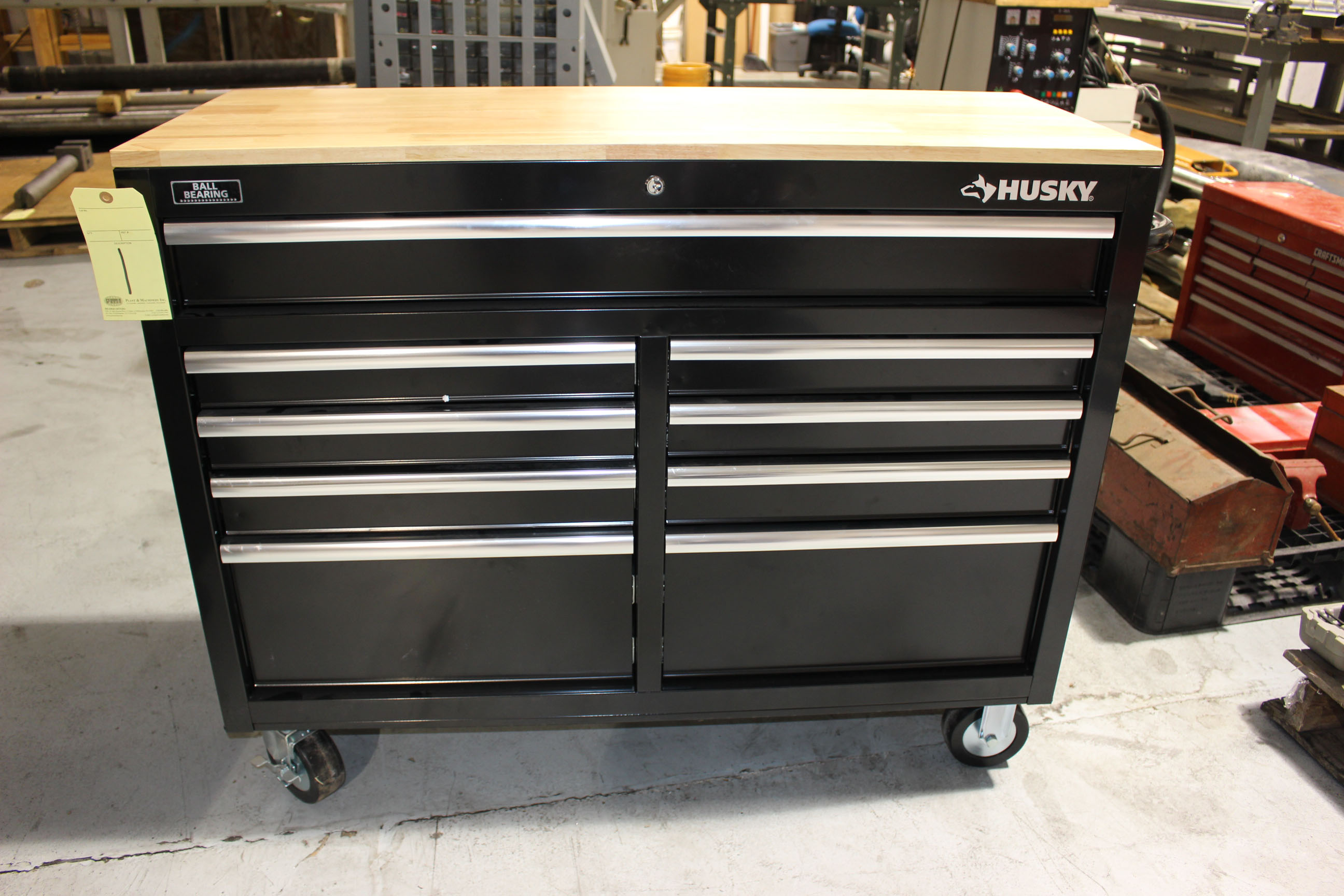 Lot 1 - TOOLBOX, HUSKY, 9-drawer, wood top